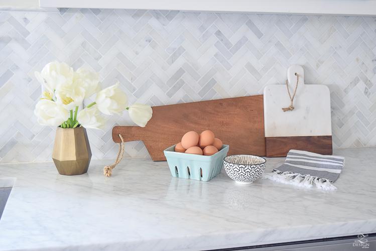 zdesign at home spring home tour modern white farmhouse kitchen carrara marble counter tops white shaker cabinets vintage barn pendants white hydrangeas-8