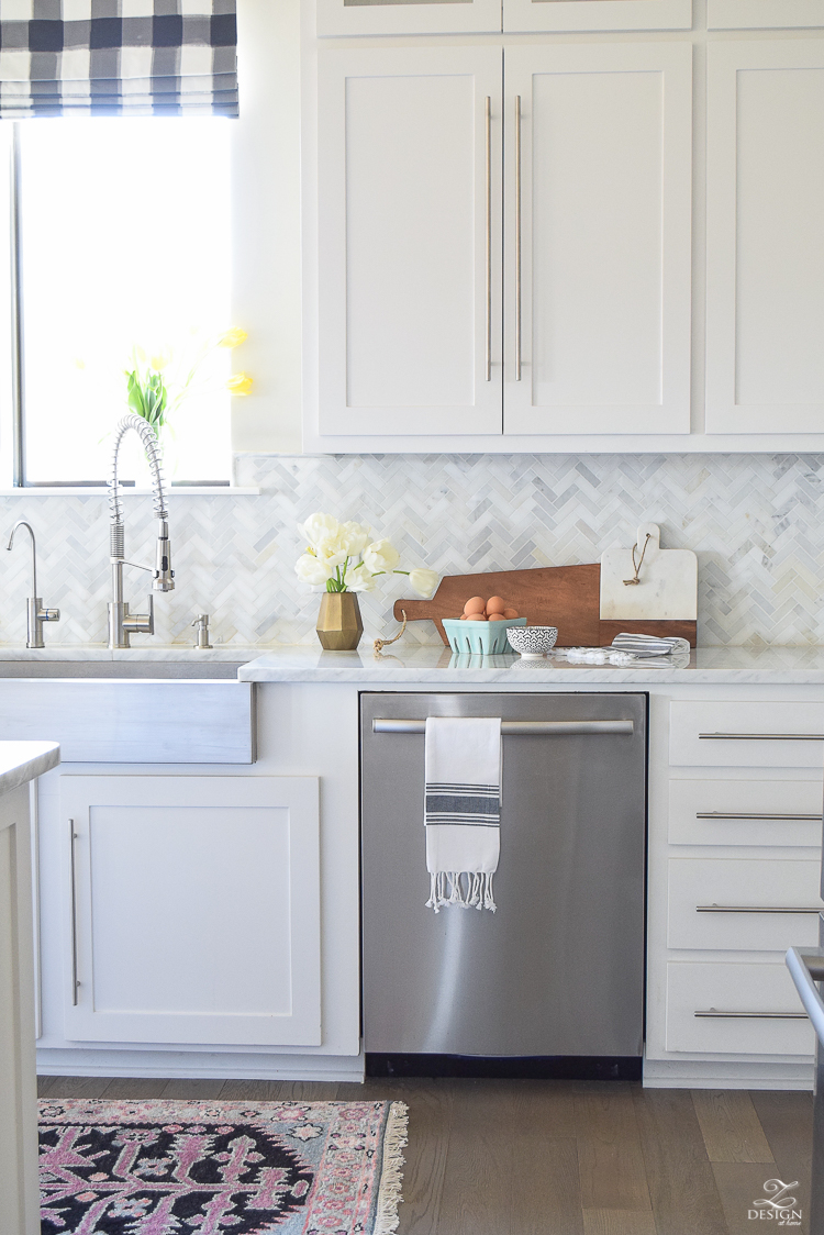 zdesign at home spring home tour modern white farmhouse kitchen carrara marble counter tops white shaker cabinets vintage barn pendants white hydrangeas-9