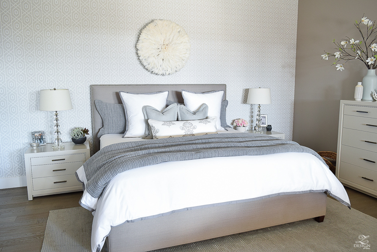 zdesign at home spring home tour with a stroll through life white and gray transitional master bedroom Sherwin Williams requisite gray paint color-1