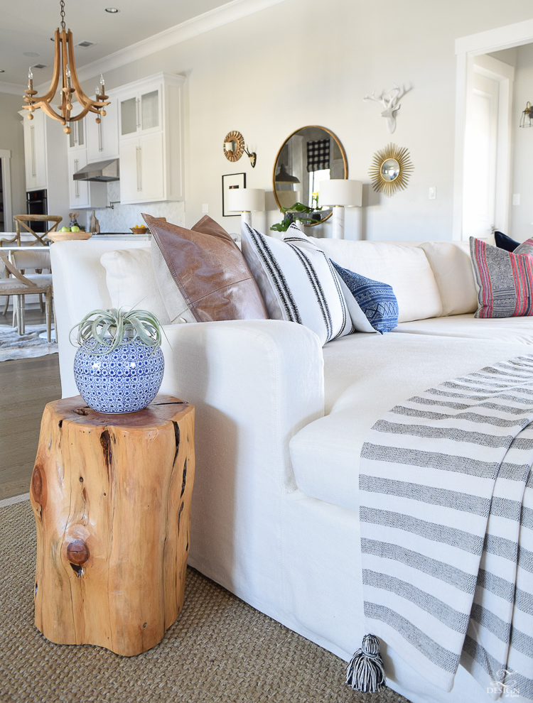 zdesign at home spring living room tour white linen couch hmong pillows leather pillow seagrass rug stump side table bogo tassel throw-2