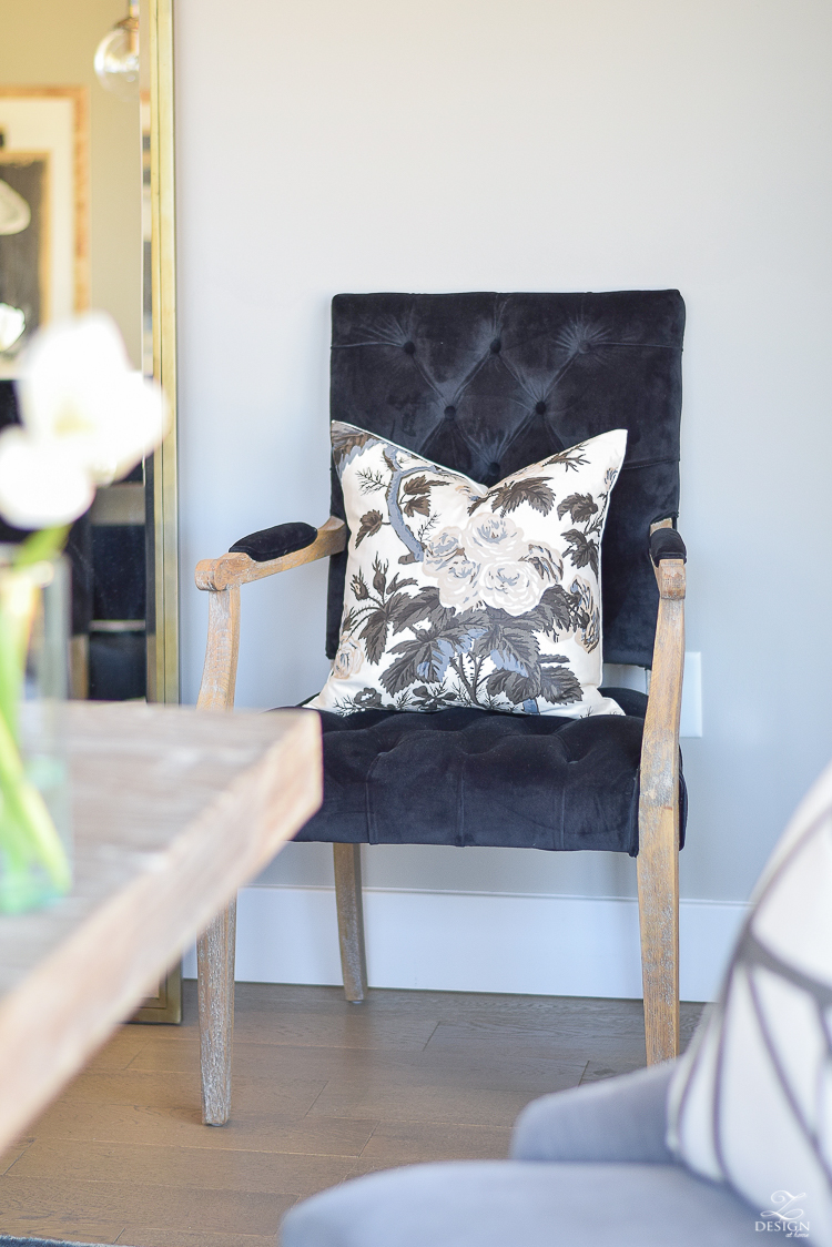 zdesign at home spring tour Pyne Hollyhock charcoal fabric pillow black velvet tufted chair sherwin williams midful gray paint color-2