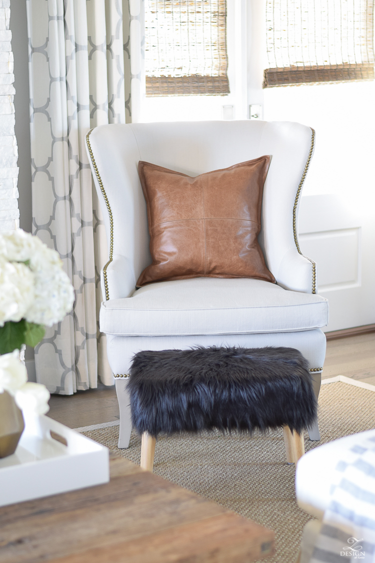 zdesign at home spring tour ballard designs wing chair black fur stool kravet riad drapes leather pillow seagrass rug-1