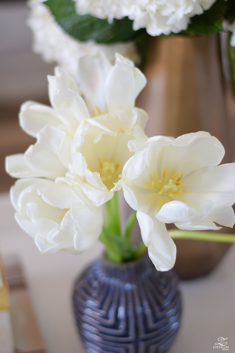 zdesign at home spring tour white tulips with yellow center in blue vase-1
