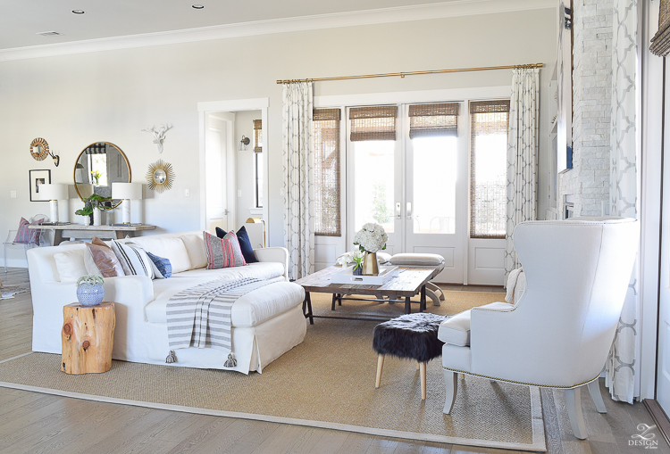 zdesign at home transitional style living room spring home tour boho inspired living room white linen couch seagrass rug-1