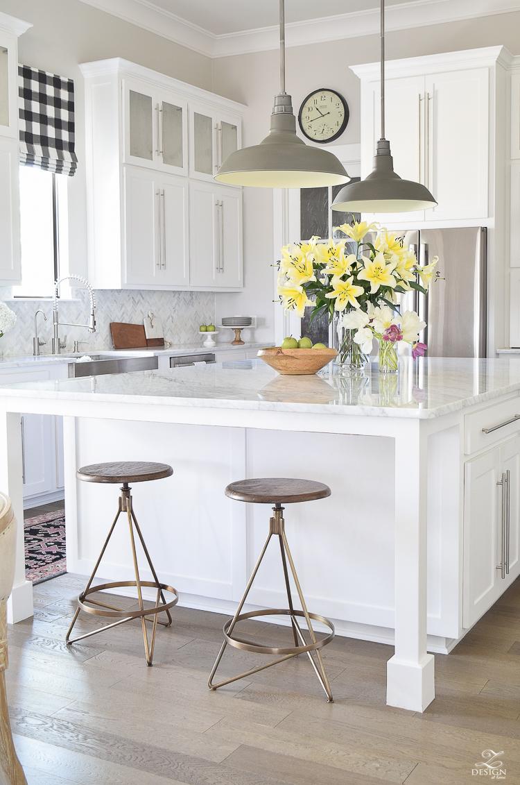 Best modern brass barstools white carrara marble counter tops white herringbone marble backsplash white modern farmhouse kitchen caitlin wilson rug-3