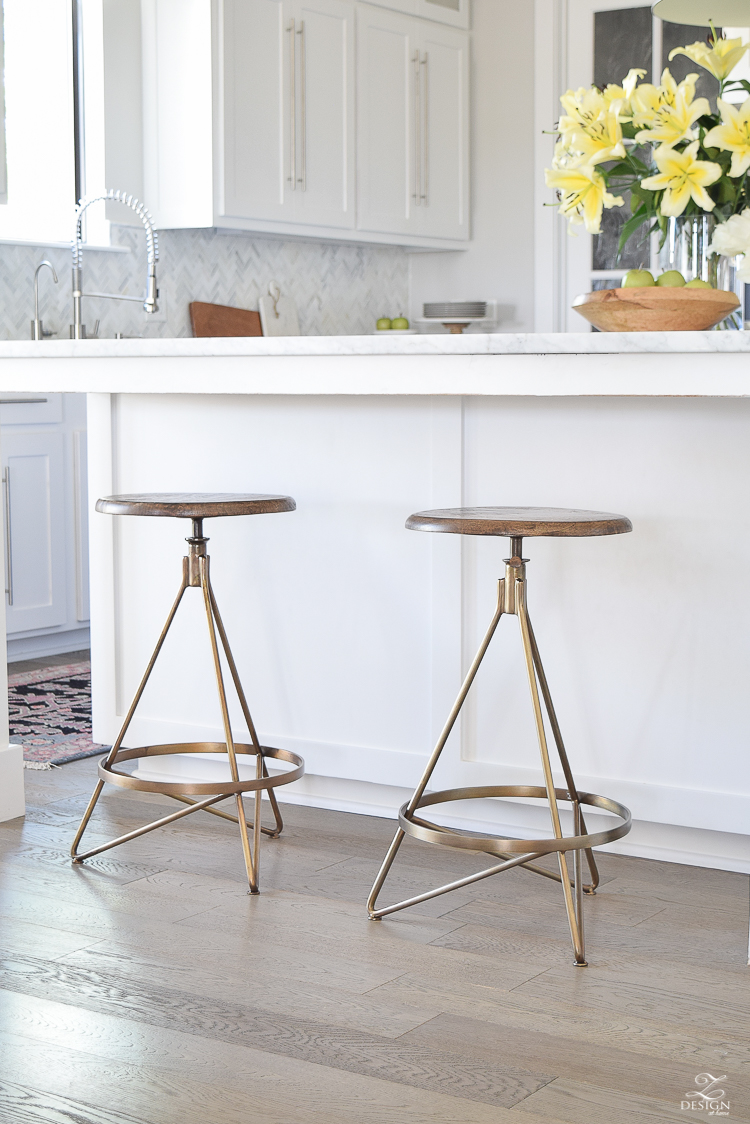 Brass swivel barstool Wyndham 25 Swivel Bar Stool by ARTERIORS Home white modern farmhouse kitchen gray vintage barn pendants gray wood floors-5