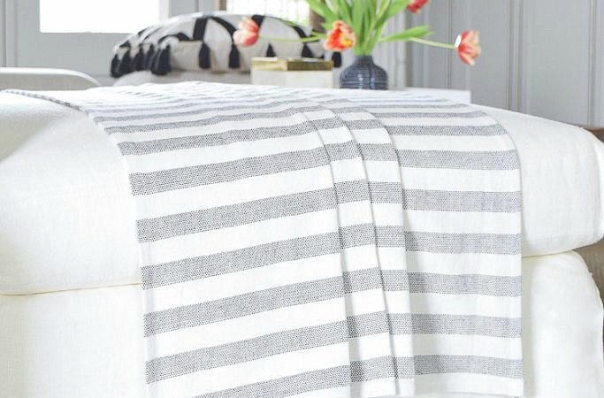 Fringed & Tassel Home Decor Accessories - Black and white stripe tassel throw