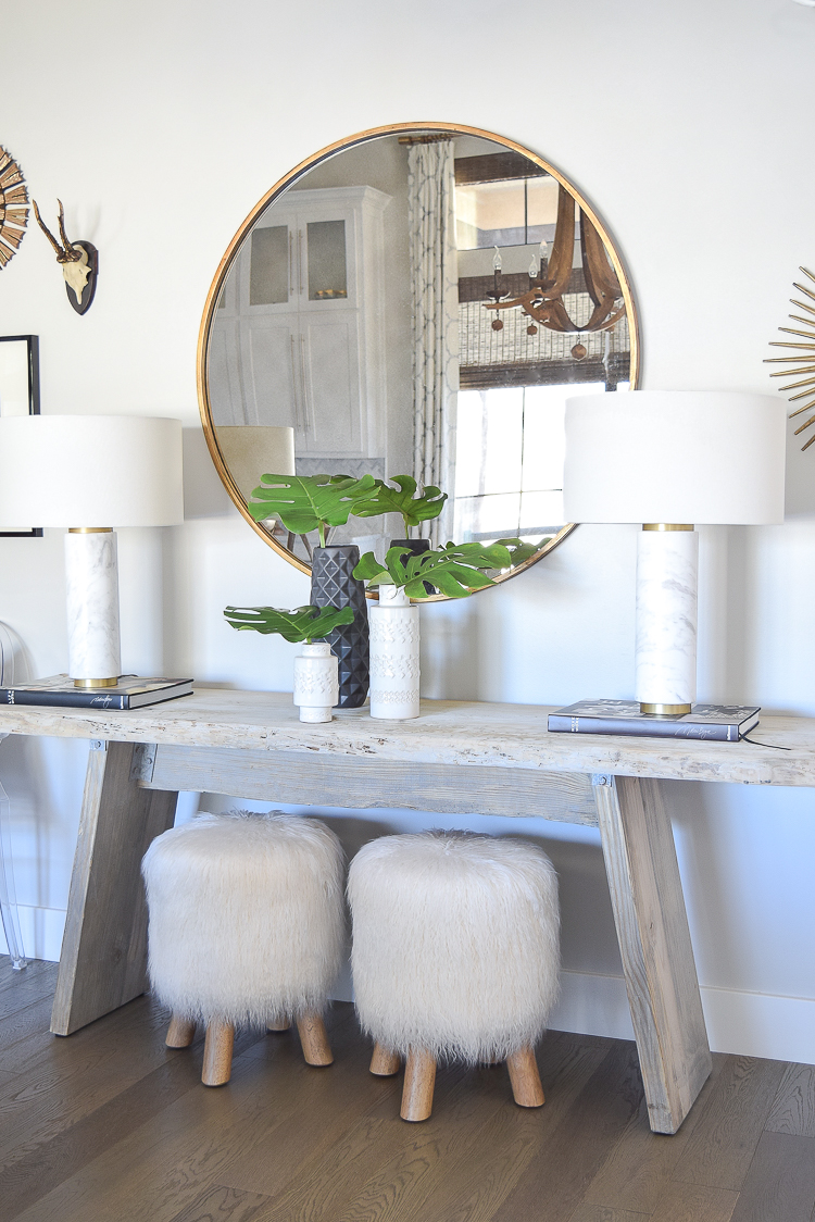 Spring Home Tour marble and brass table lamps round gold mirror fur stools sherwin williams on the rocks paint rustic console table-1
