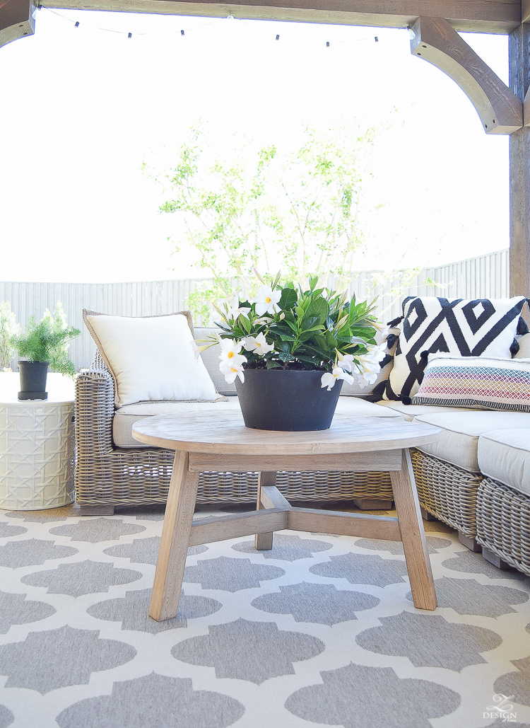 Spring outdoor living space rh rattan sectional black and white pillows with tassels outdoor entertaining geometric outdoor rug west elm outdoor table -5