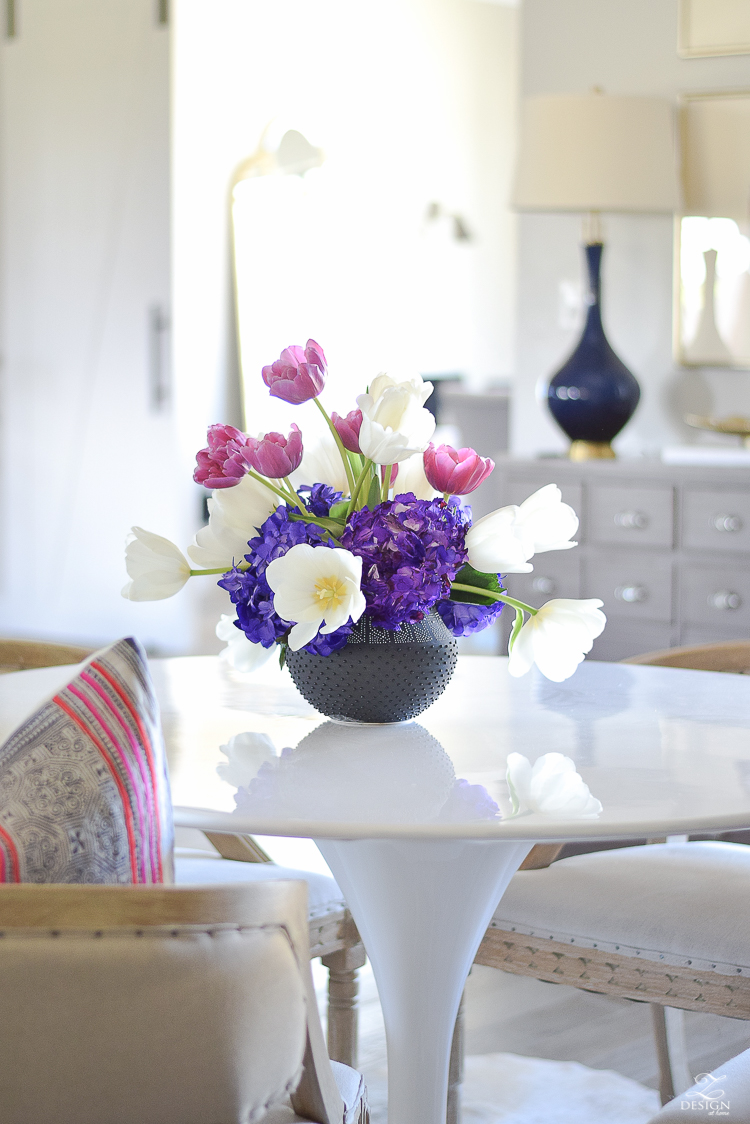 ZDesign At Home Spring Home Tour black dot flower pot tulip and hydrangea arrangement tulip table tub dinging chair homong pillow -1