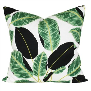 tropical palm leaf pillow