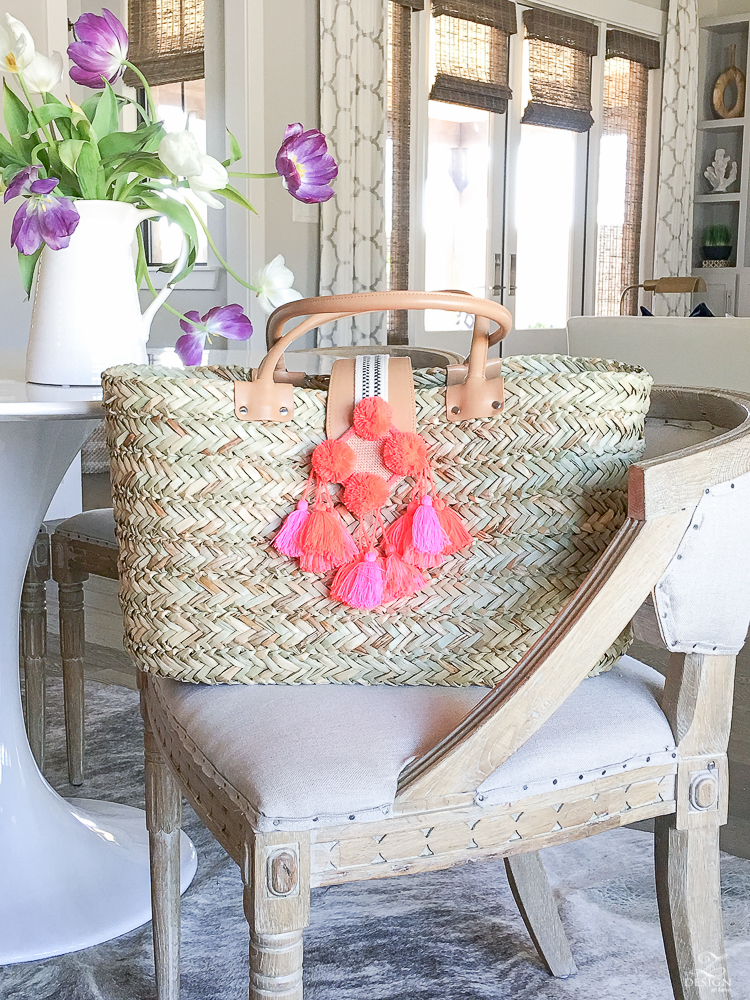 Home Decor Accessories With Fringe Tassels And Pom Poms Natural Straw Beach Bag With Tassels And