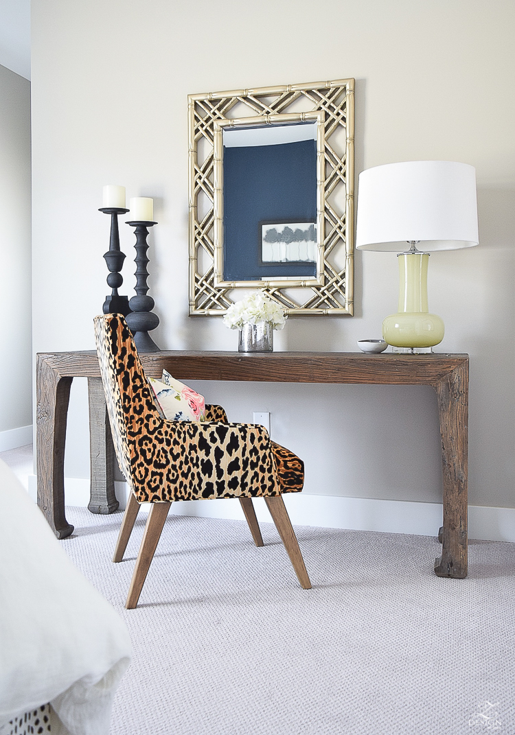 leopard print chair gold bamboo mirror home office jamie young lighting rustic elmwood console table black candlesticks cozy home with pattern-1
