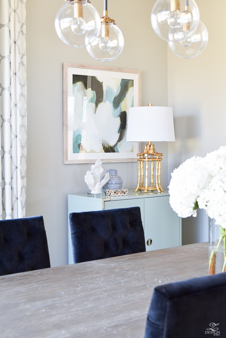 sherwin williams mindful gray minted art black velvet chairs gray wash rustic table transitional dining room gold bamboo lamp kravet riad custom curtains-1
