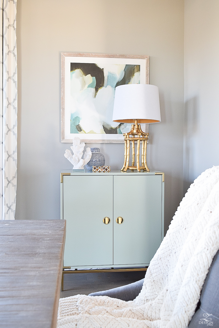 top 5 things to make your home cozy and inviting aqua and brass bar cabinet sw mindful gray paint minted art gold bamboo lamp-1