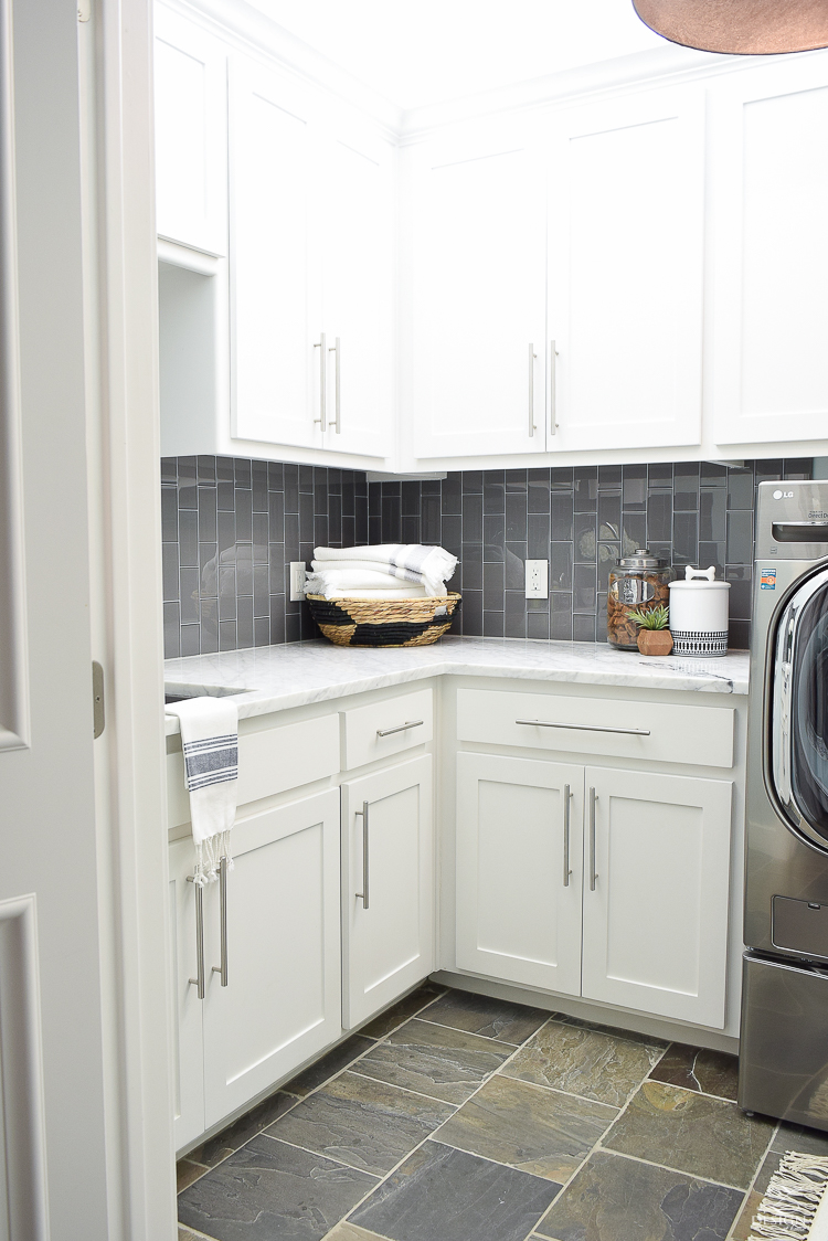 Beautiful Laundry Room Ideas White Shaker Cabinets Large