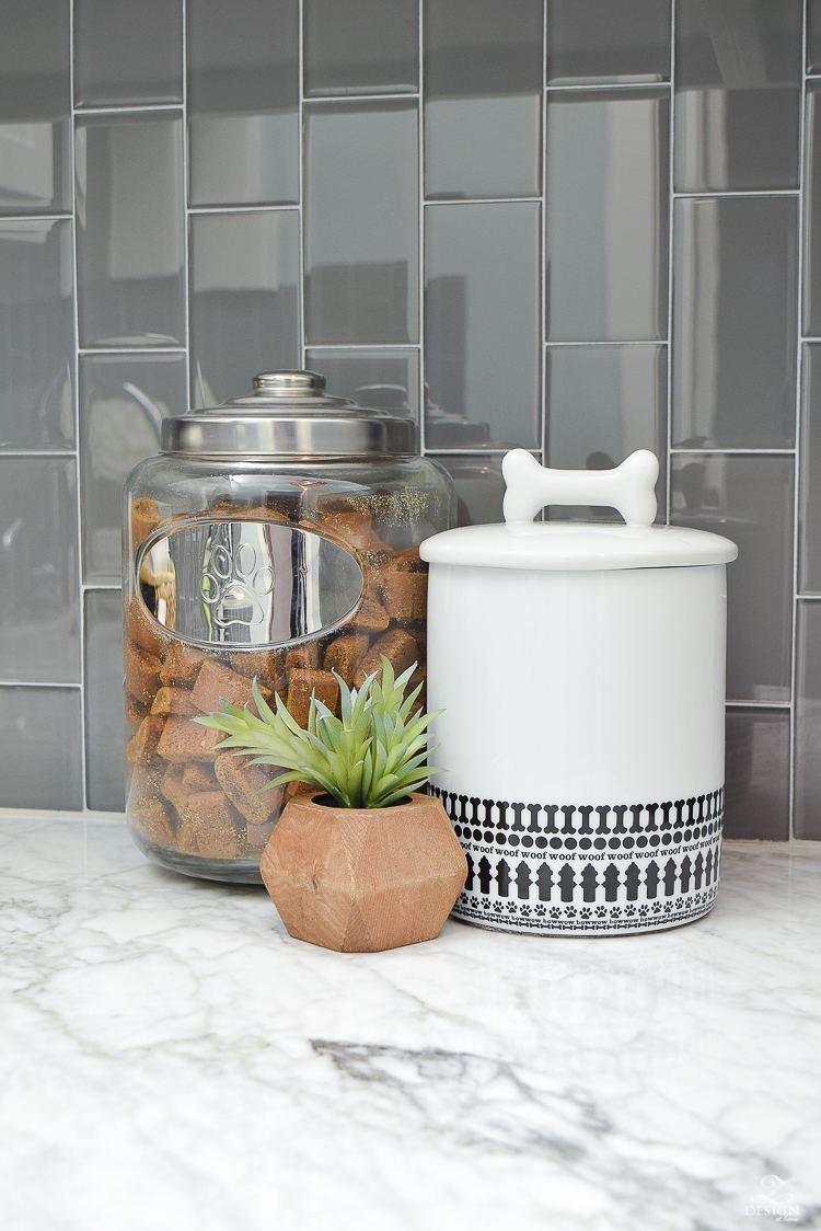 Beautiful Laundry Room Ideas Woof Dog Treat Jar Designer dog treat jars vertical gray glass tile carrara marble in the laundry room-1