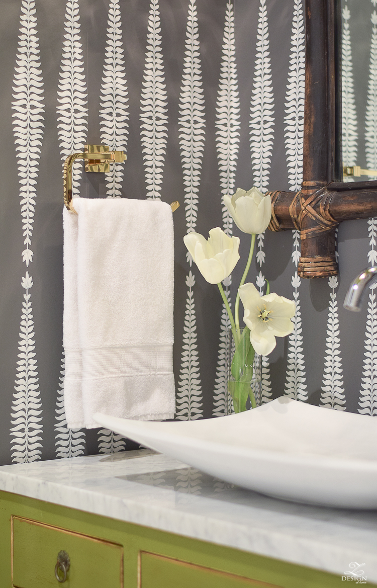 Beautiful powder roomBrass hand towel bar marble in the bathroom decolav white vessel sink Schumacher Fern Tree Graphite wallpaper carrara marble in the bathroom -1