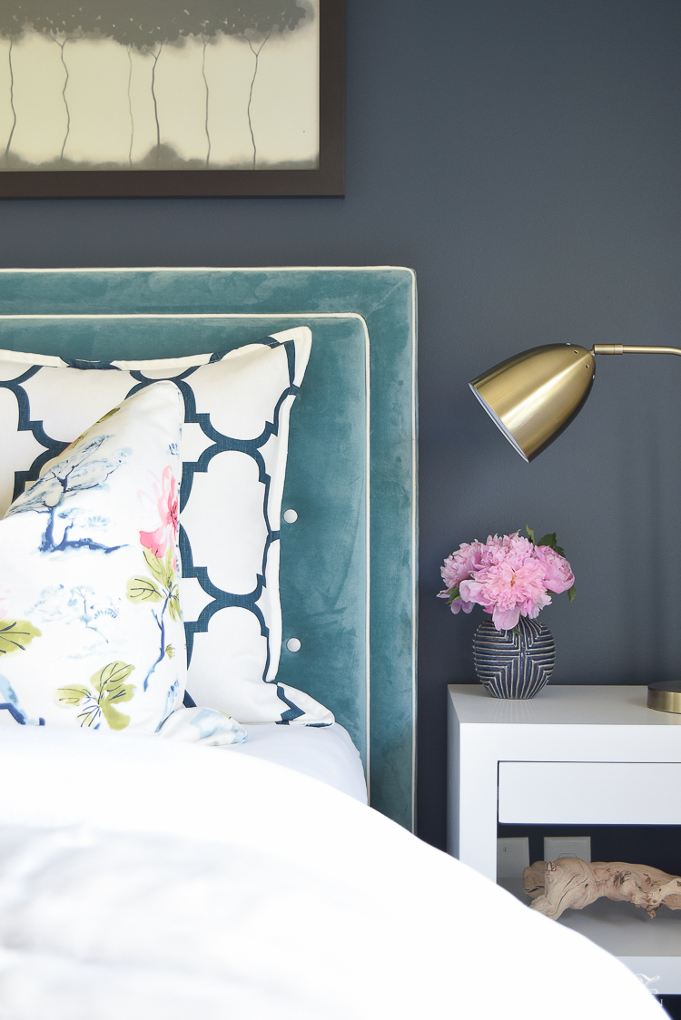 Design custom headbaord teal velvet headboard with white trim eastern charm floral pillow riad navy custom pillow blue geometric vase velvet headboards gentlemans gray navy paint-1