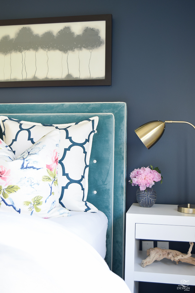 Design custom headbaord teal velvet headboard with white trim eastern charm floral pillow riad navy custom pillow blue geometric vase velvet headboards gentlemans gray navy paint-3