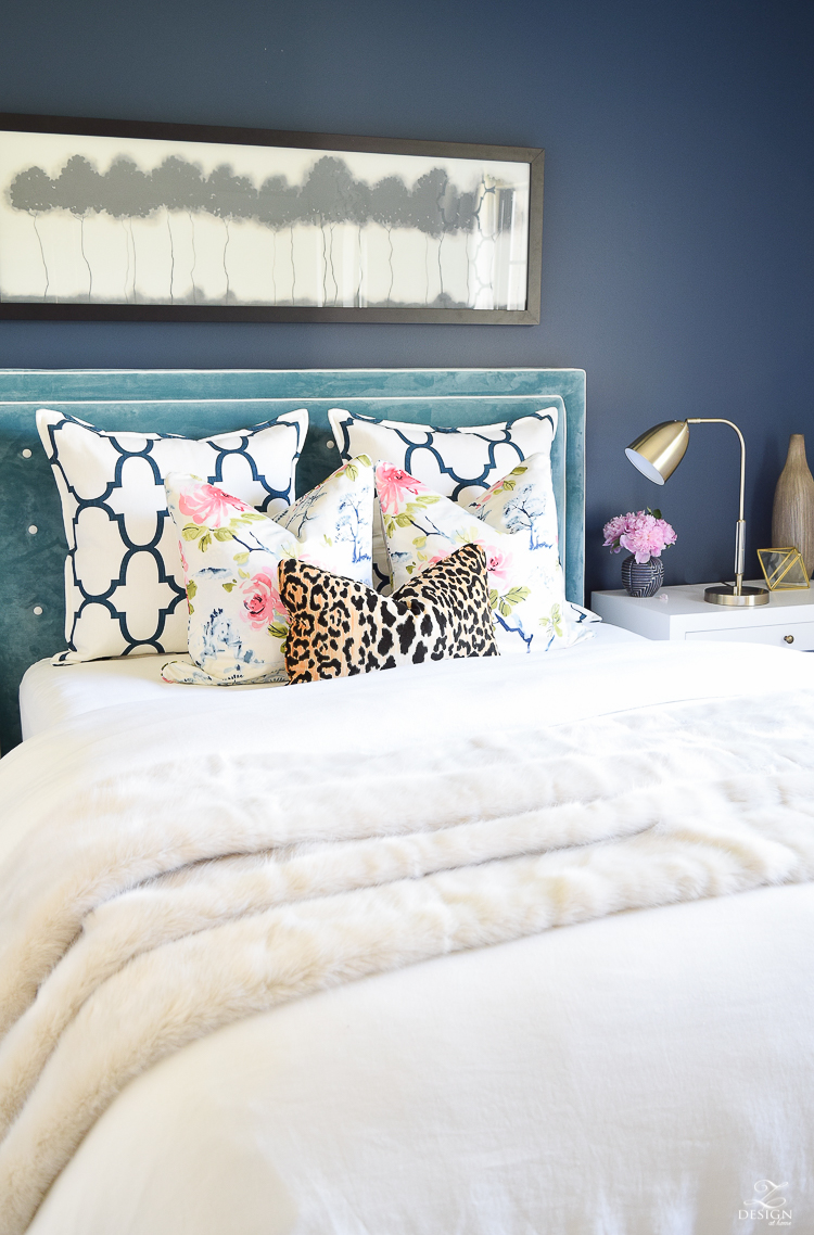 Design custom headbaord teal velvet headboard with white trim eastern charm floral pillow riad navy custom pillow blue geometric vase velvet headboards gentlemans gray navy paint-4