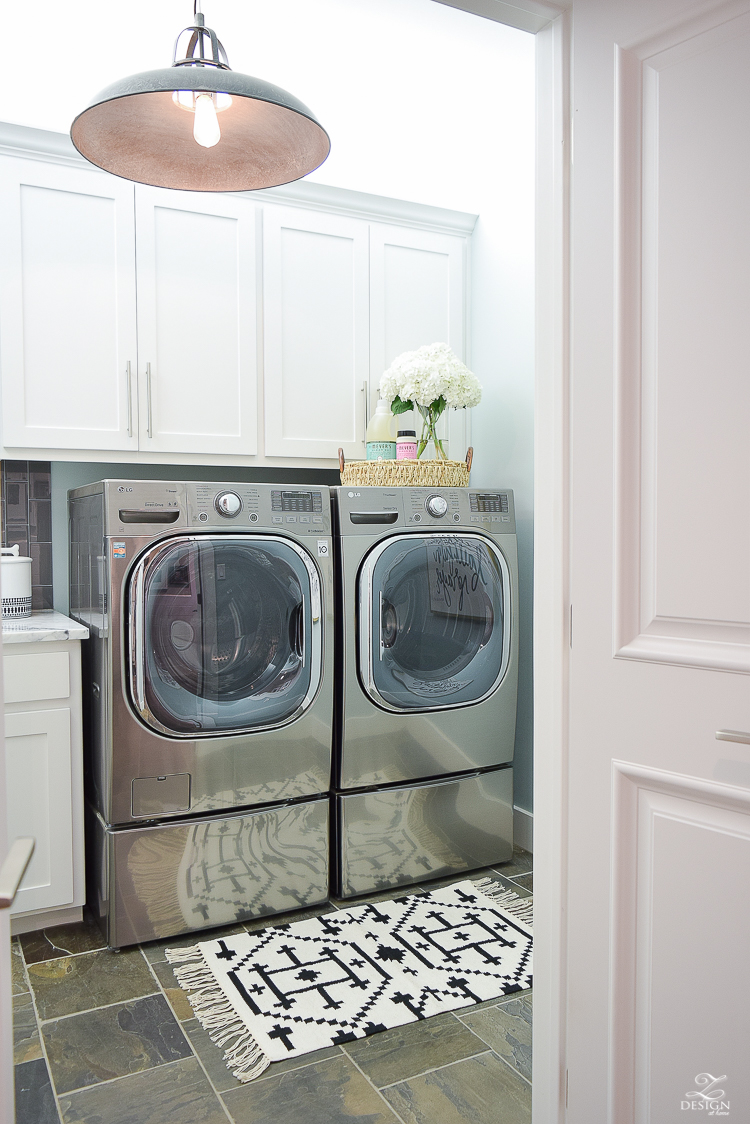 Laundry room ideas stainless LG washer and dryer slate flooring stainless bar pulls delta chrome faucet stainless sink-2