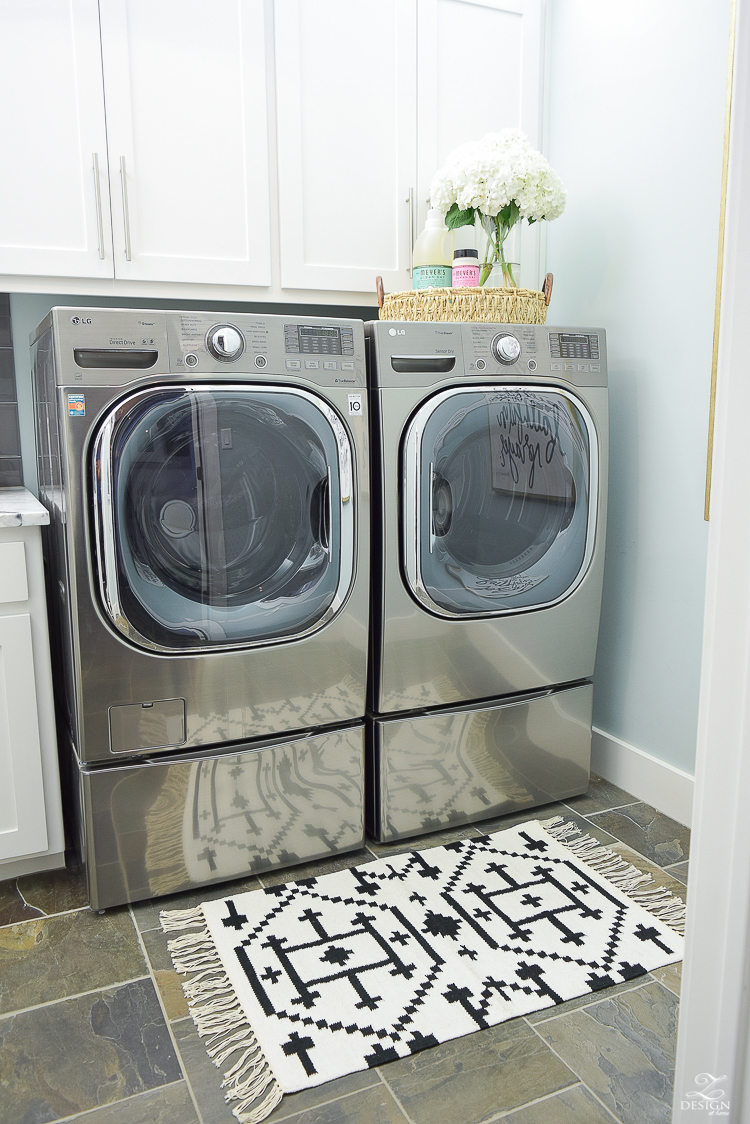 Laundry room ideas stainless LG washer and dryer slate flooring stainless bar pulls delta chrome faucet stainless sink-3