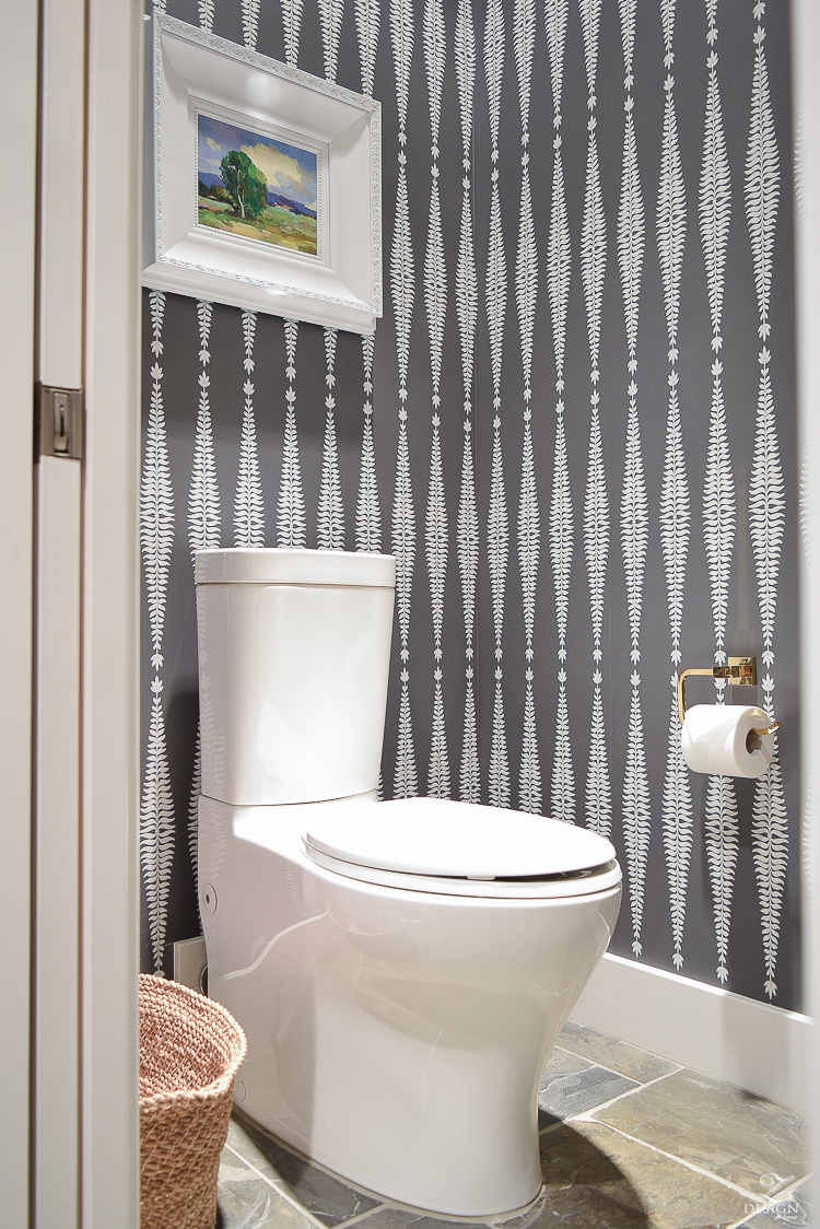 Modern kohler toilet transitional modern bathroom design schumacher wall paper fern tree in graphite white frame slate flooring two piece toilet -1