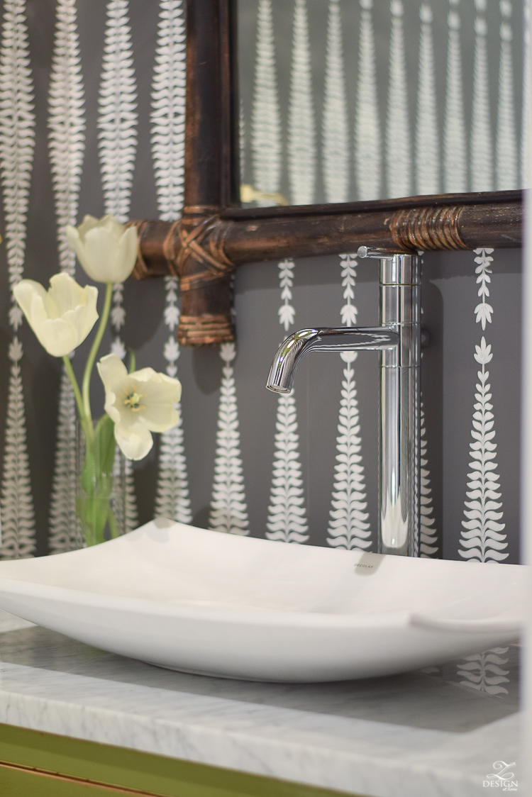 ZDesign At Home Powder Room White Decolav Sink Marble in the bathroom schumacher fern tree wallpaper bamboo mirror gorgeous powder rooms-1