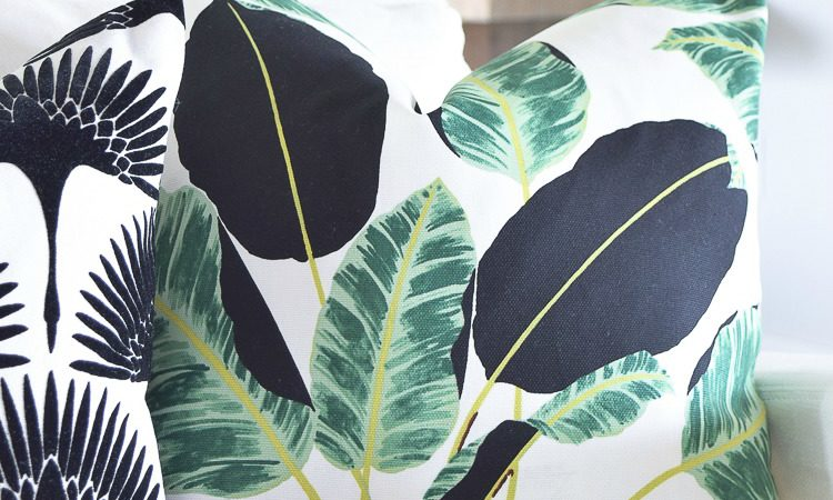 ZDesign At Home Summer Pillow round up featuring black, white and green palm print and bird print fabrics