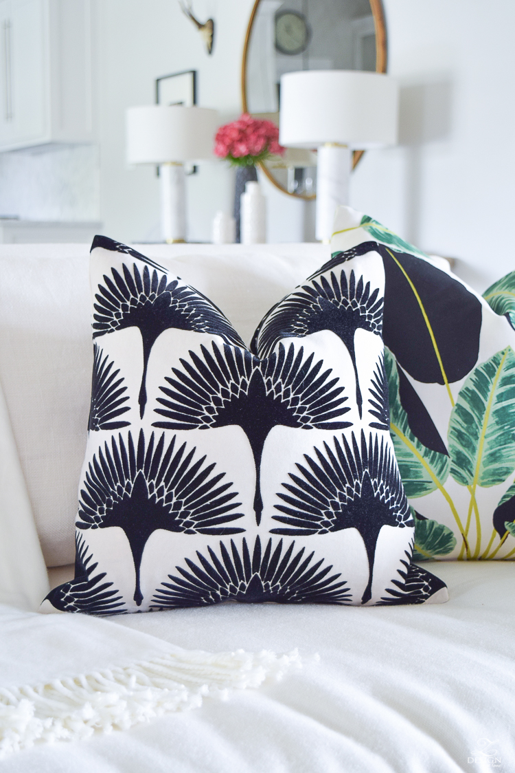 ZDesign At Home summer pillows black and white bird flock pillow with gold zipper palm print pillow everygreen velvet pillow with gold zipper-1