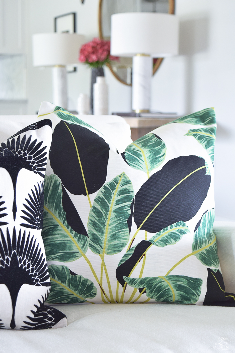 ZDesign At Home summer pillows black and white bird flock pillow with gold zipper palm print pillow everygreen velvet pillow with gold zipper-2
