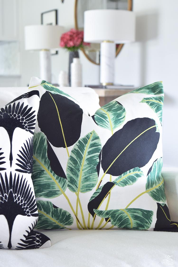 ZDesign At Home summer pillows black and white bird flock pillow with gold zipper palm print pillow everygreen velvet pillow with gold zipper-2