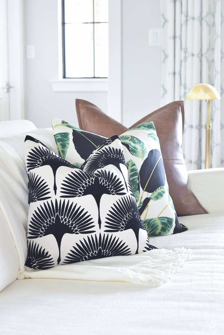ZDesign At Home summer pillows black and white bird flock pillow with gold zipper palm print pillow everygreen velvet pillow with gold zipper-3