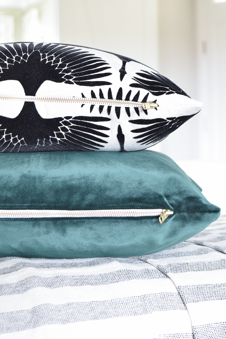 ZDesign At Home summer pillows black and white bird flock pillow with gold zipper palm print pillow everygreen velvet pillow with gold zipper-7