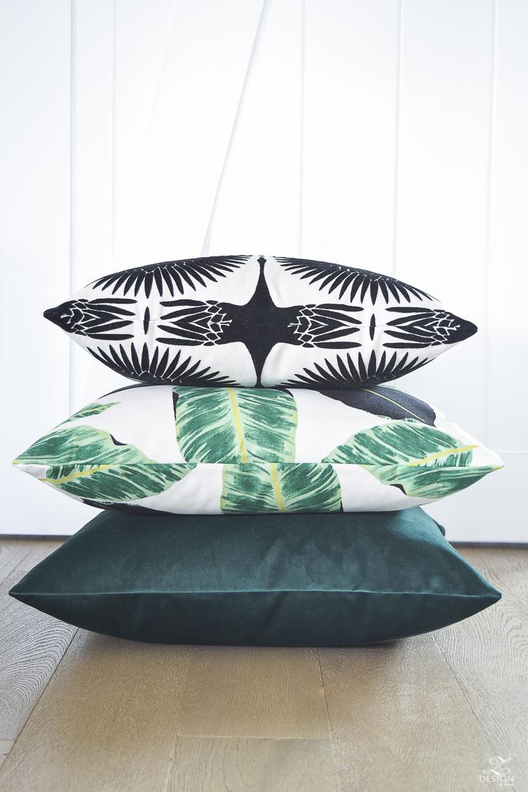 ZDesign At Home summer pillows black and white bird flock pillow with gold zipper palm print pillow everygreen velvet pillow with gold zipper-8