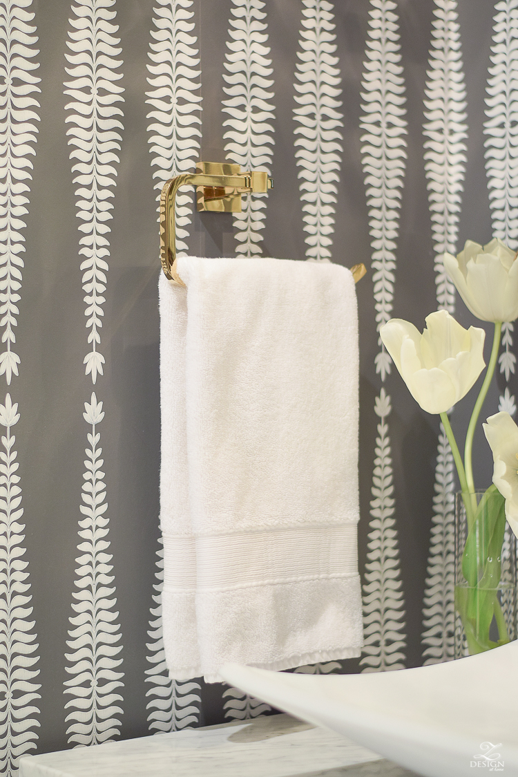 brass toilet paper holder bath fixtures Beautifully decorated powder room with schumacher fern tree wallpaper in graphite -2