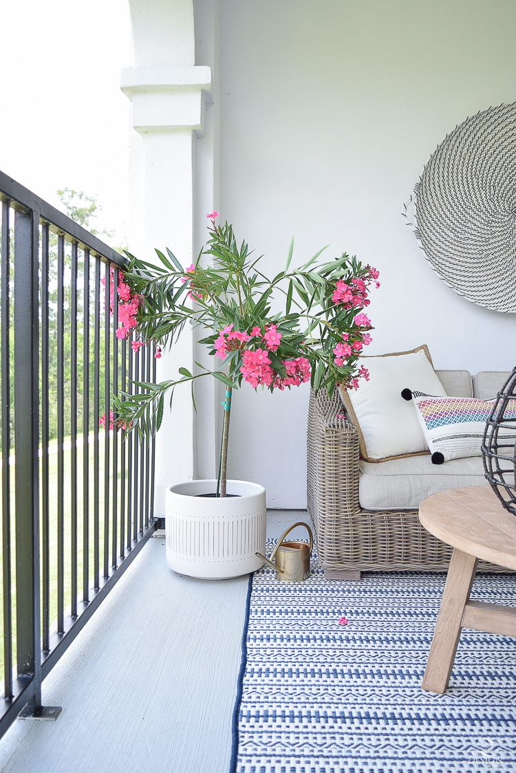 Outdoor patio decor and design black and white hanging basket on wall beautiful patio design pink oleander -2