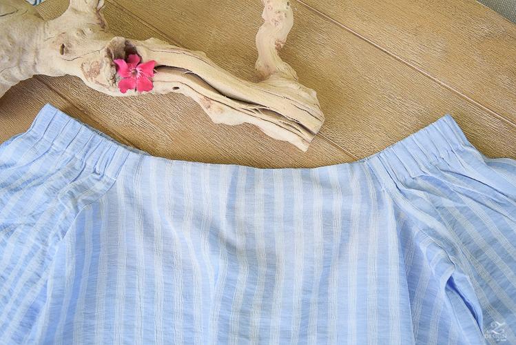 Pale blue off the shoulder top ann tayler pink tassel earrings-3