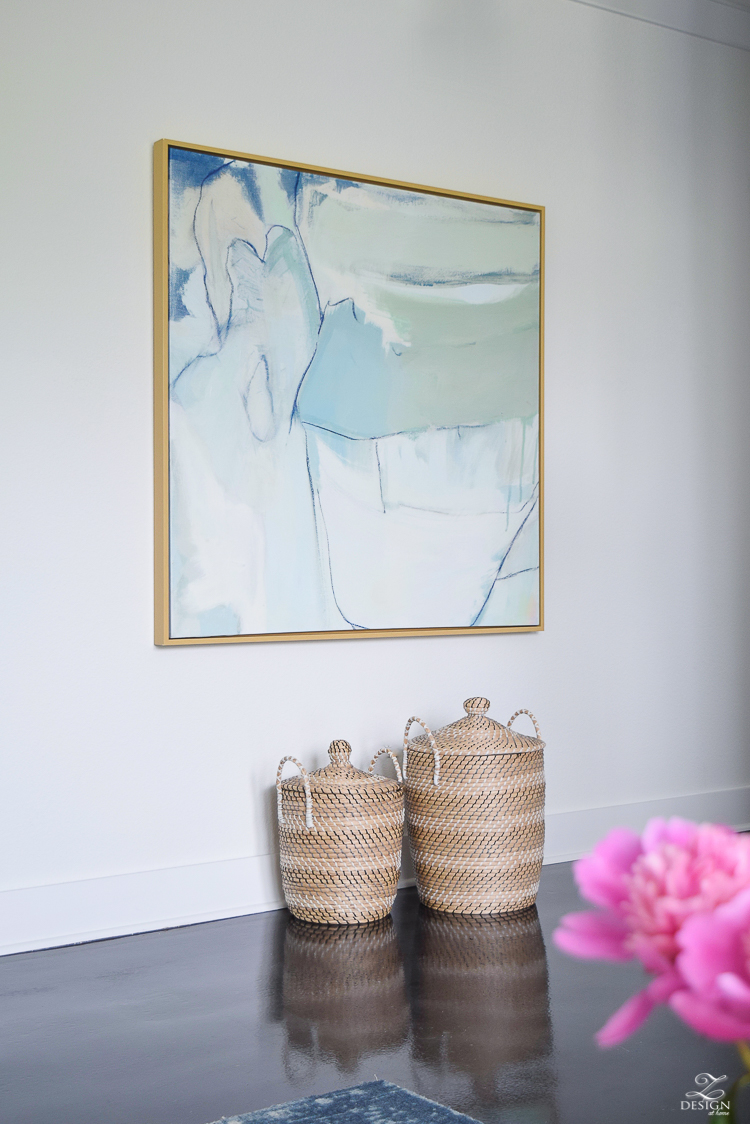large abstract art floating frame baskets for blankets with lid pink peonies summer home tour zdesign at home-1