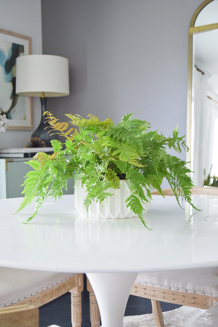 modern house plants mid mod geometric white flower pot wood fern in white mid mod pot-1