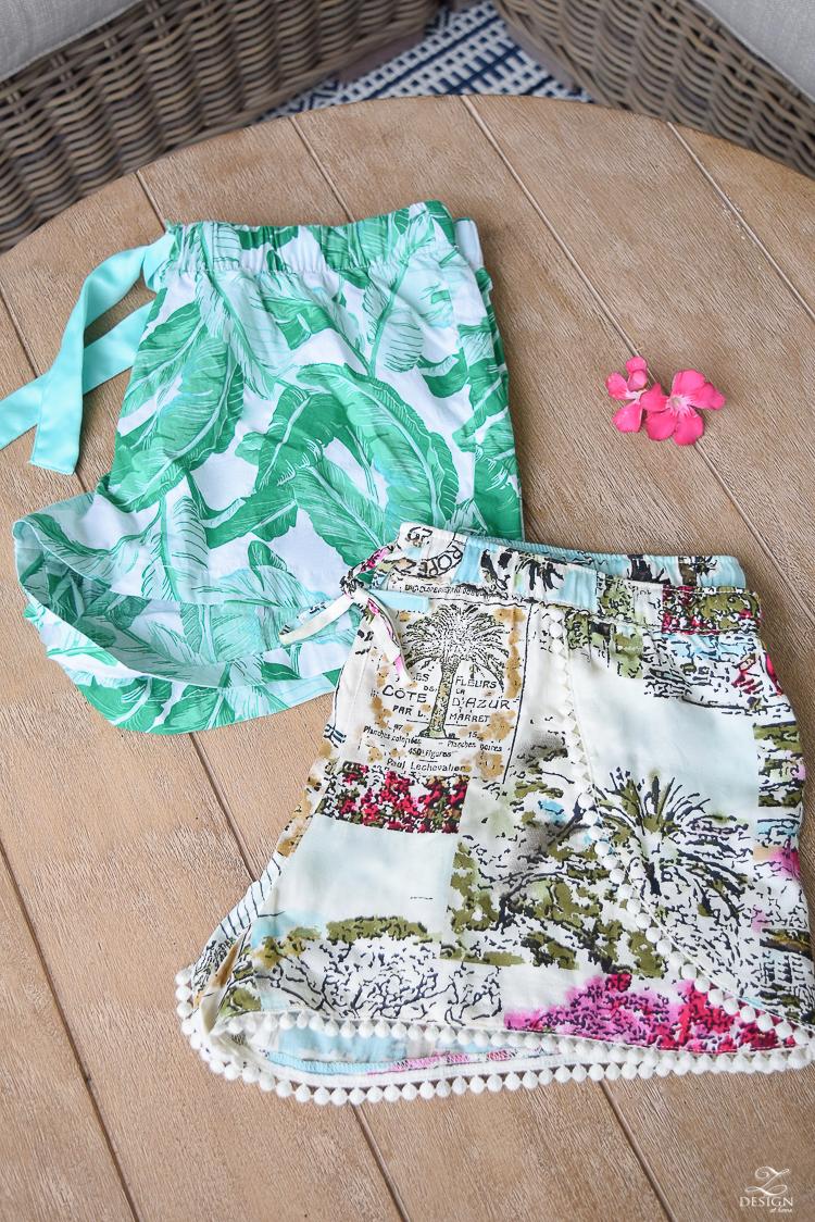 palm print lounging shorts tropical pom pom fringe lounding shorts-1
