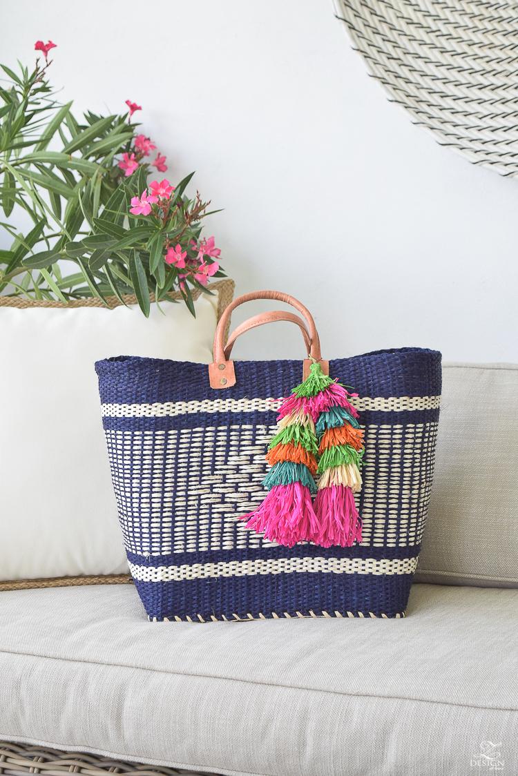 straw tassel navy beach bag with mulitcolored tassel-1