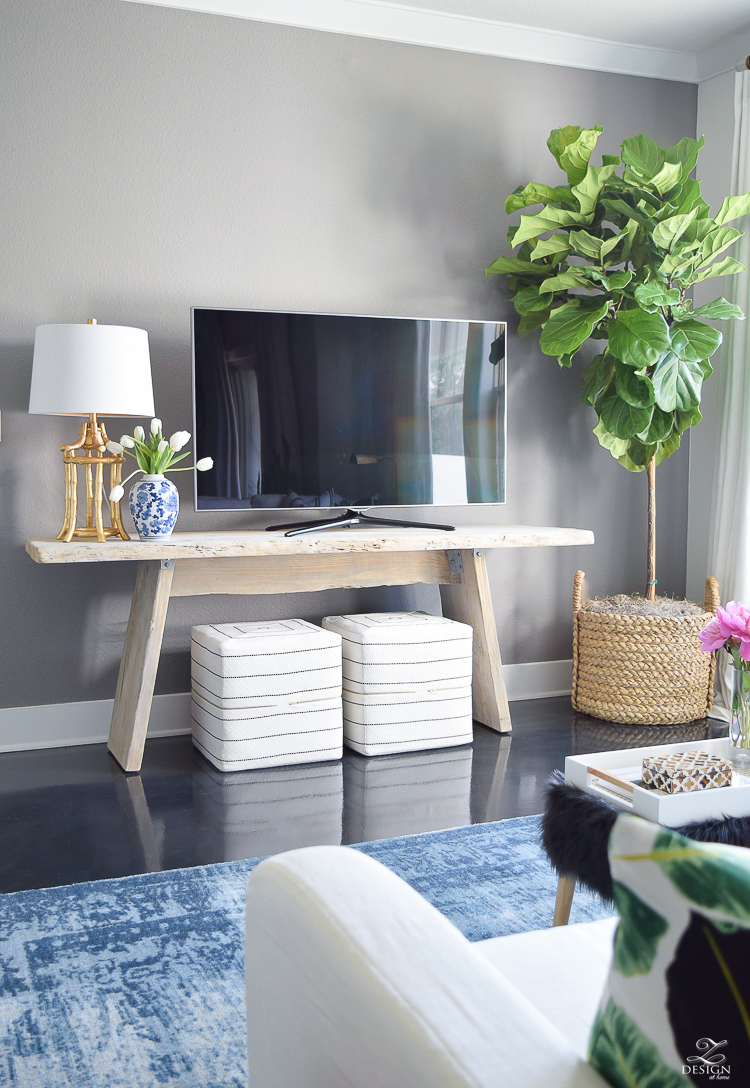 tv wall fiddle leaf fig in basket toulouse ottoman cubes black and white gold bamboo lamp blue vintage inspired rug gray accent wall summer home tour -3