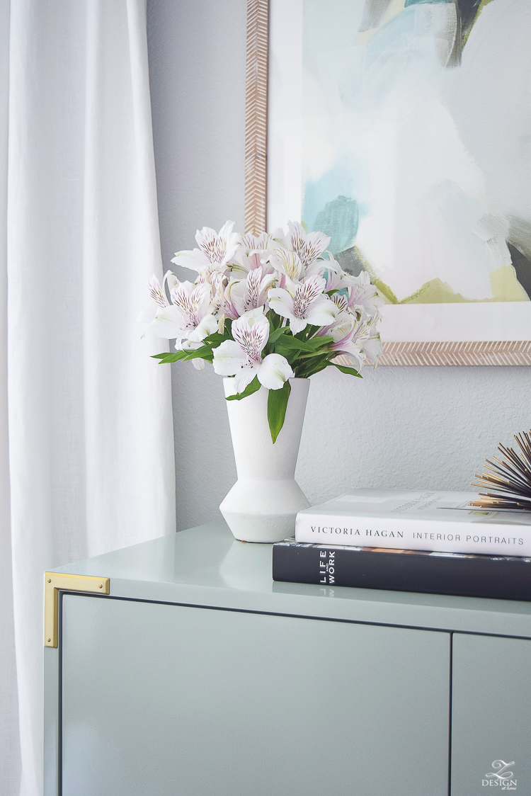 white fluted west elm vase white alstromeria table styling zdesign at home summer home tour-1