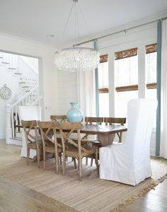 Coastal Dining Room farmhouse x back chairs capiz chandelier beach ...