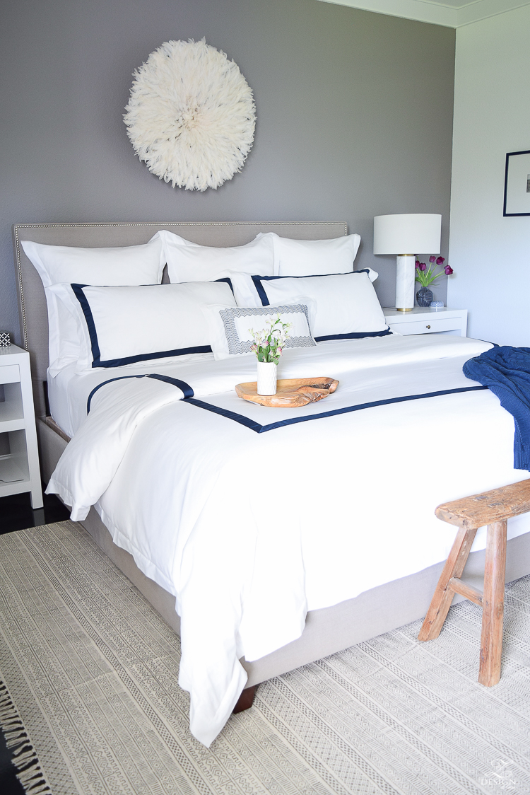 Review of Boll & Branch Sheets White Hotel Bedding with Navy band Navy cable knit throw softest sheets the best bedding ZDesign At Home Apartment bedroom navy and white banded duvet-1