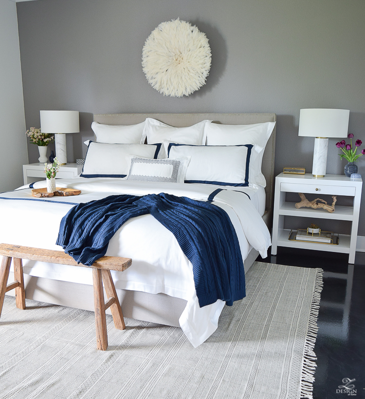 Review of Boll & Branch Sheets White Hotel Bedding with Navy band Navy cable knit throw softest sheets the best bedding ZDesign At Home Apartment bedroom navy and white banded duvet-13