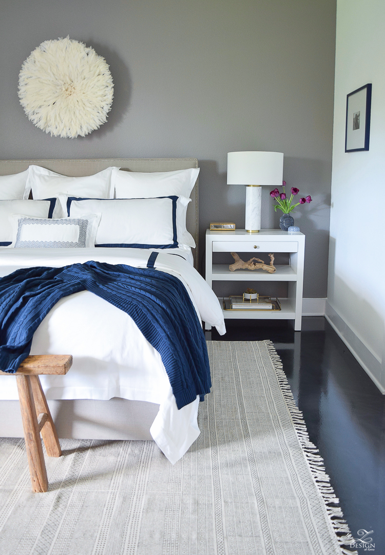 Review of Boll & Branch Sheets White Hotel Bedding with Navy band Navy cable knit throw softest sheets the best bedding ZDesign At Home Apartment bedroom navy and white banded duvet-14