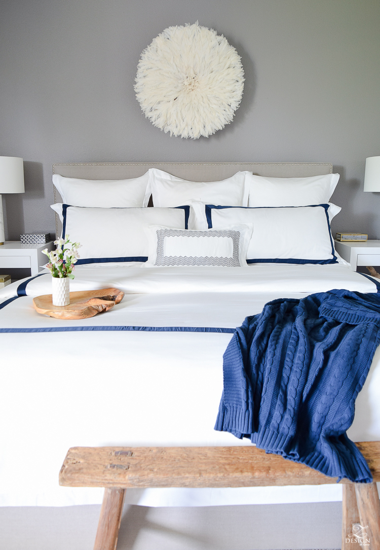 Review of Boll & Branch Sheets White Hotel Bedding with Navy band Navy cable knit throw softest sheets the best bedding ZDesign At Home Apartment bedroom navy and white banded duvet-4
